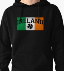 Vintage IRISH Flag (Distressed Design) Pullover Hoodie