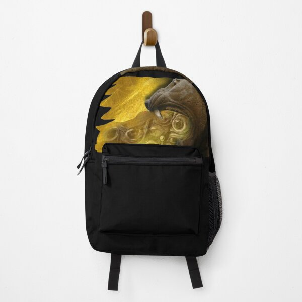 Lion Eating Dreams (Assyrian Lion, Salvator Dali, Hitchcock (Graphic by ACCI) on Gold Backpack