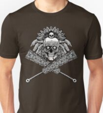Aztec Skull and crossed macuahuitl T-Shirt