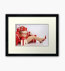 Woman Buried under Christmas Gifts holiday shopping art photo print Framed Print