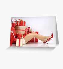 Woman Buried under Christmas Gifts holiday shopping art photo print Greeting Card