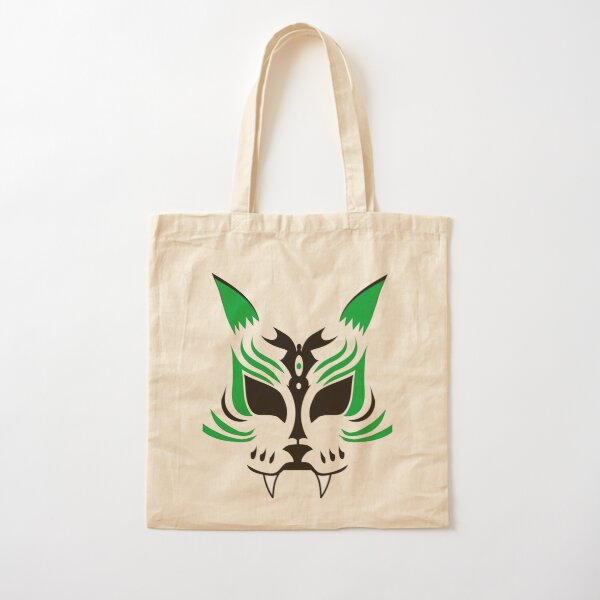 Kitsune Face - Green Cotton Tote Bag