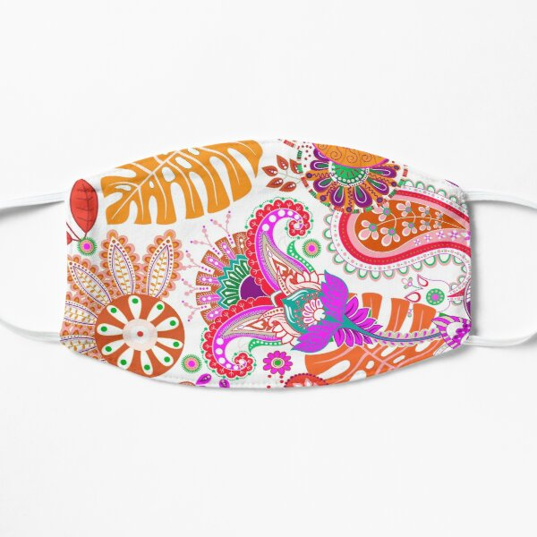 Orange Tropical Paisley  Mask