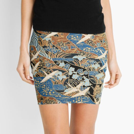 FLYING WHITE CRANES ON BLUE WATER AND SPRING FLOWERS  Antique Japanese Floral Mini Skirt