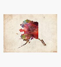 Alaska map painting Photographic Print