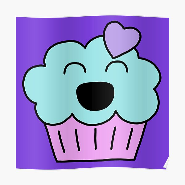 Muffy the muffin, purple, pink and blue version  Poster