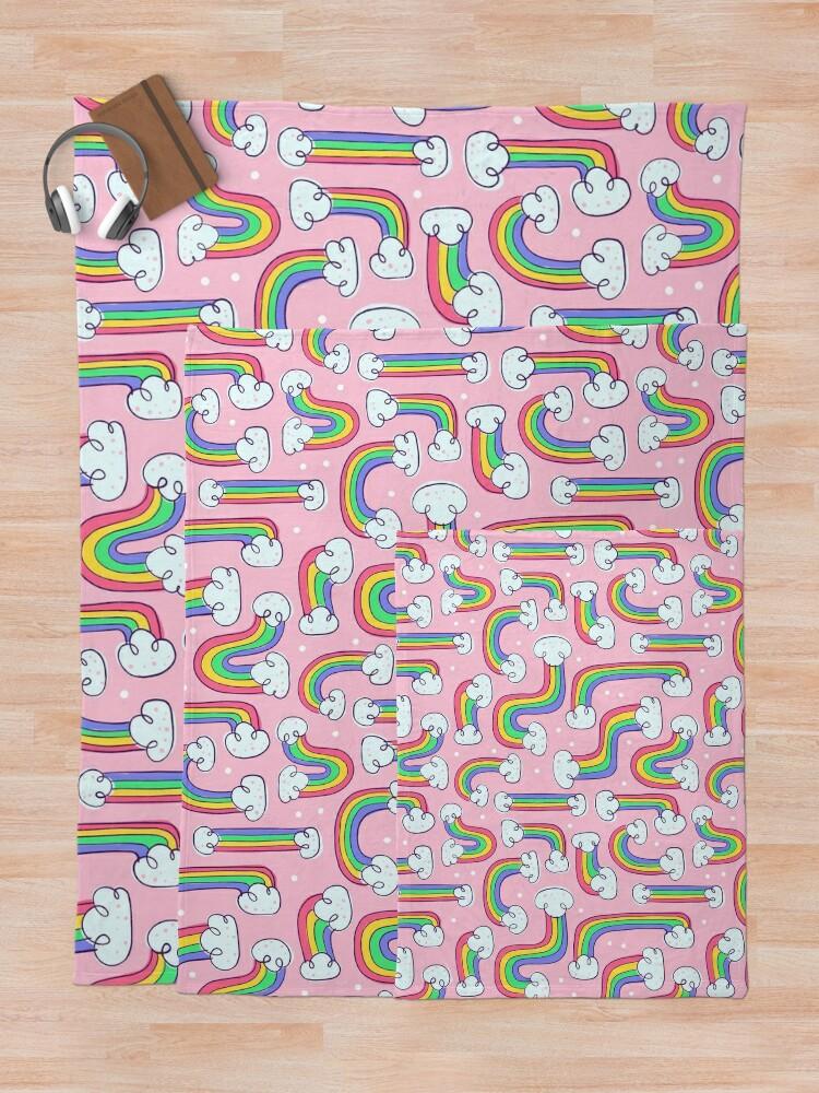 Alternate view of Curvy Rainbows Throw Blanket