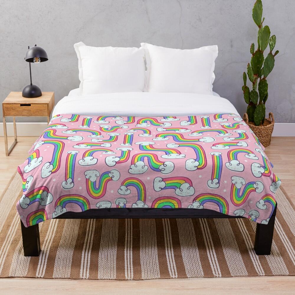 Curvy Rainbows Throw Blanket