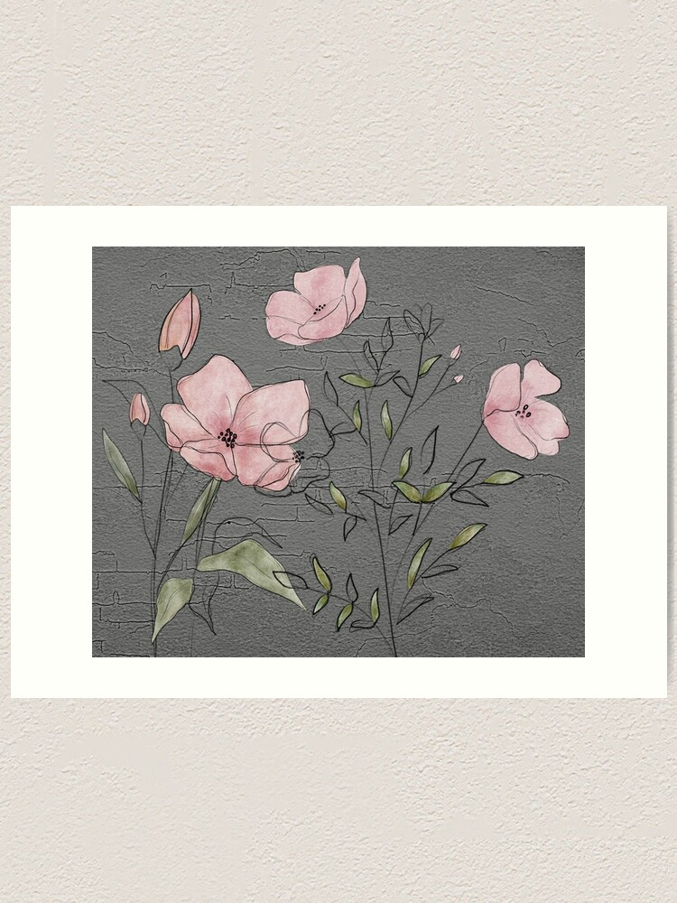 Alternate view of Pink flowers on concrete Art Print