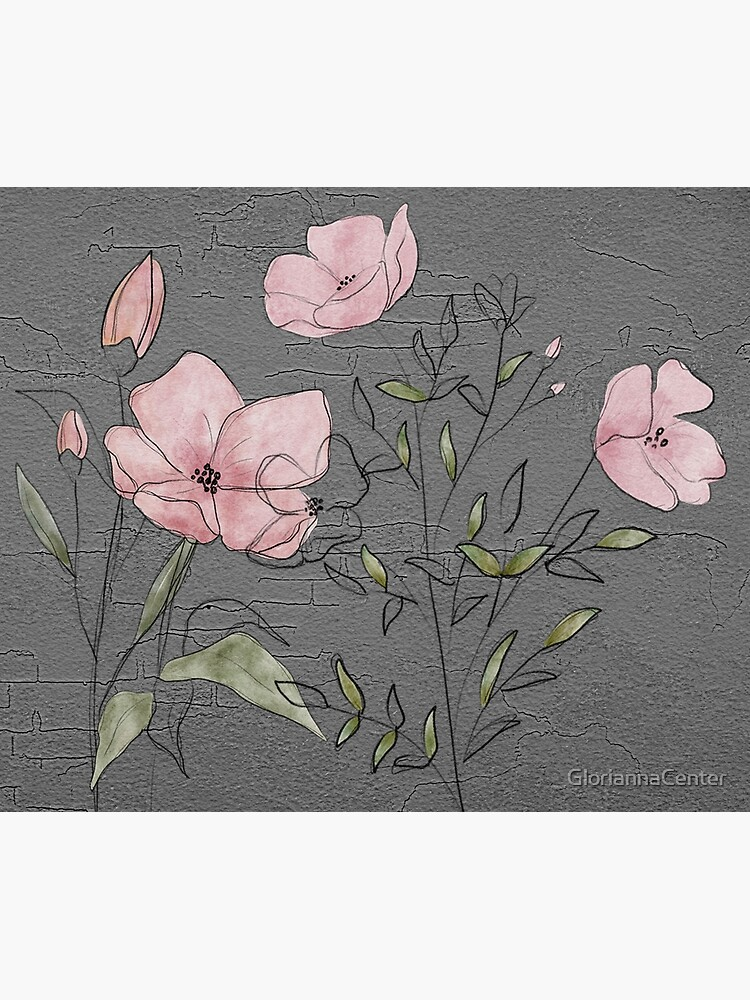 Pink flowers on concrete by GloriannaCenter
