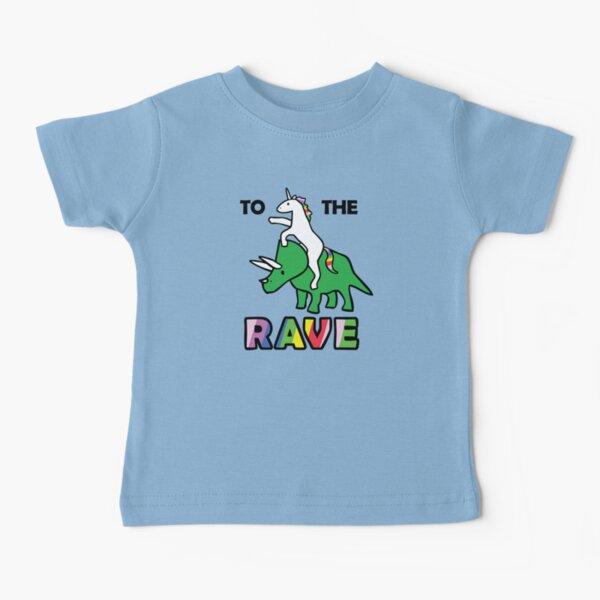 Zum Rave! (Einhorn reitet Triceratops) Baby T-Shirt