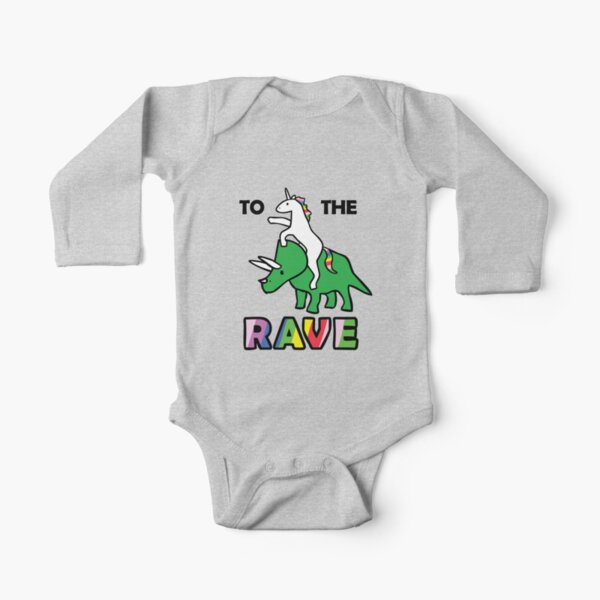 To The Rave! (Unicorn Riding Triceratops) Long Sleeve Baby One-Piece