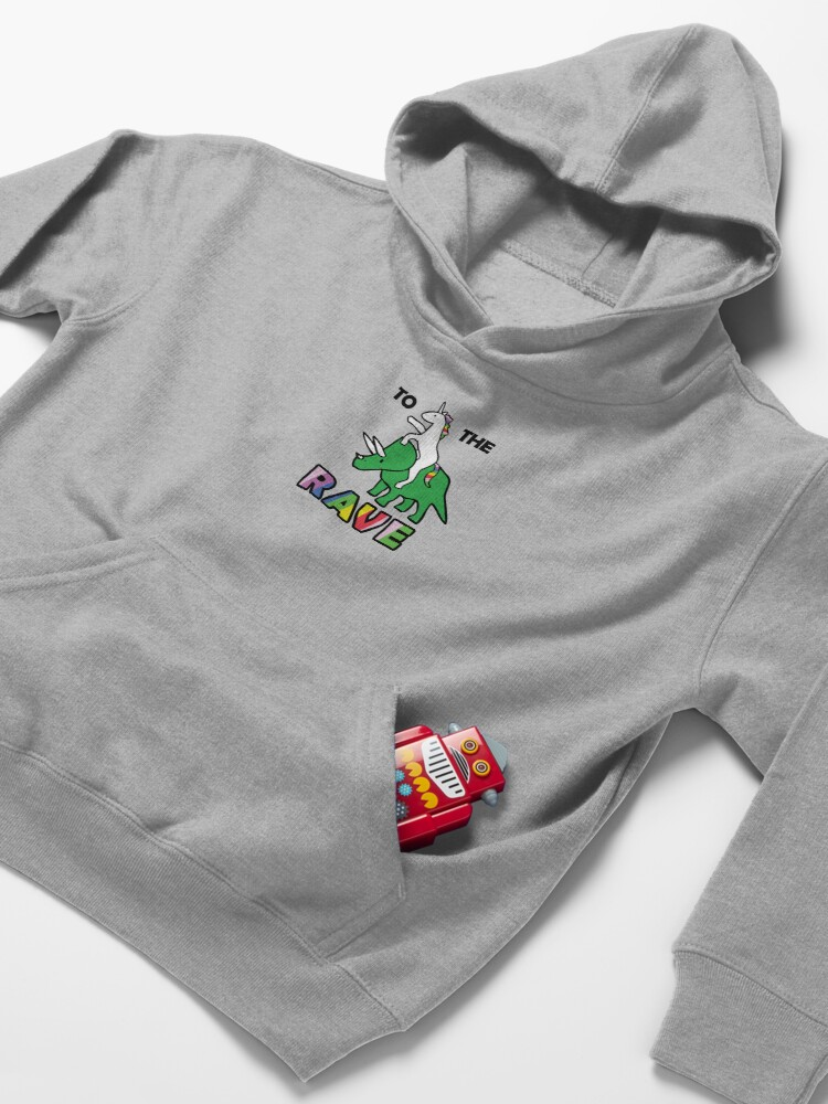 Alternate view of To The Rave! (Unicorn Riding Triceratops) Kids Pullover Hoodie