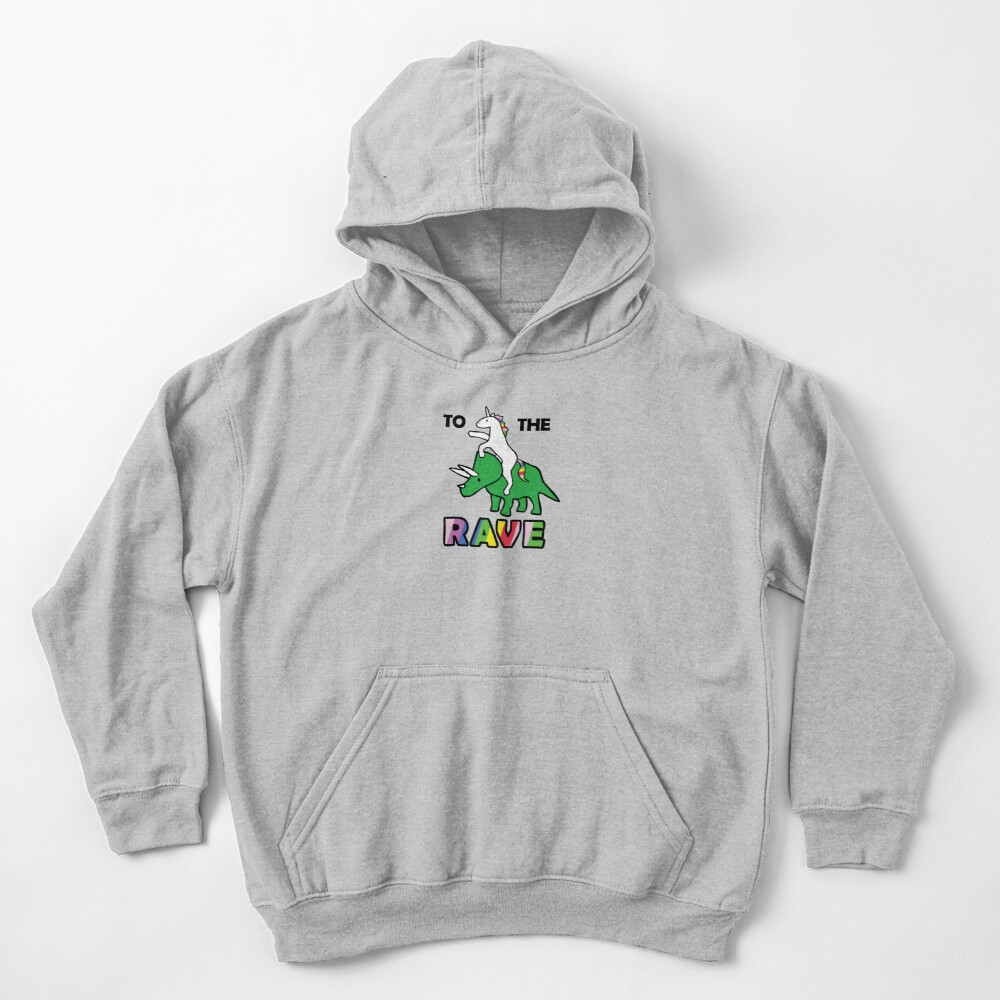 To The Rave! (Unicorn Riding Triceratops) Kids Pullover Hoodie