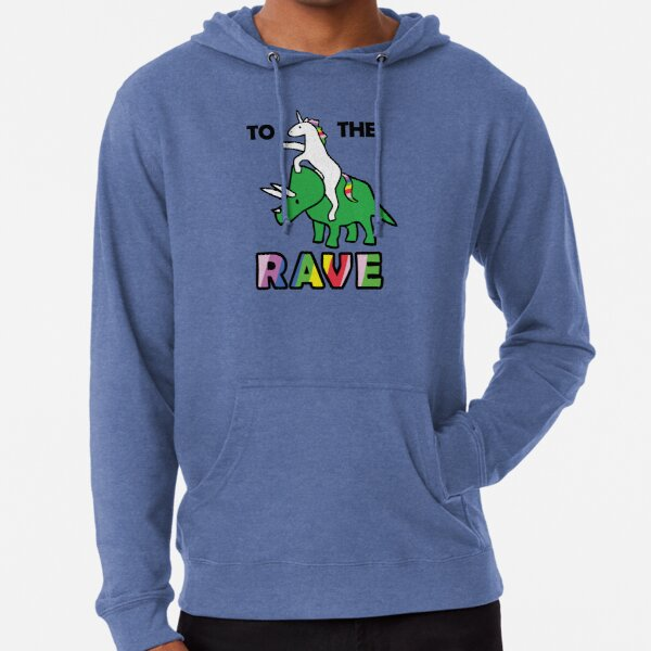 To The Rave! (Unicorn Riding Triceratops) Lightweight Hoodie