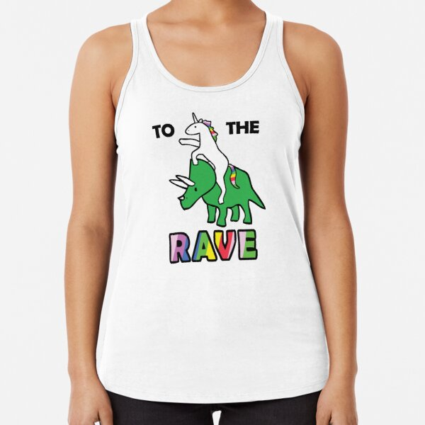 To The Rave! (Unicorn Riding Triceratops) Racerback Tank Top