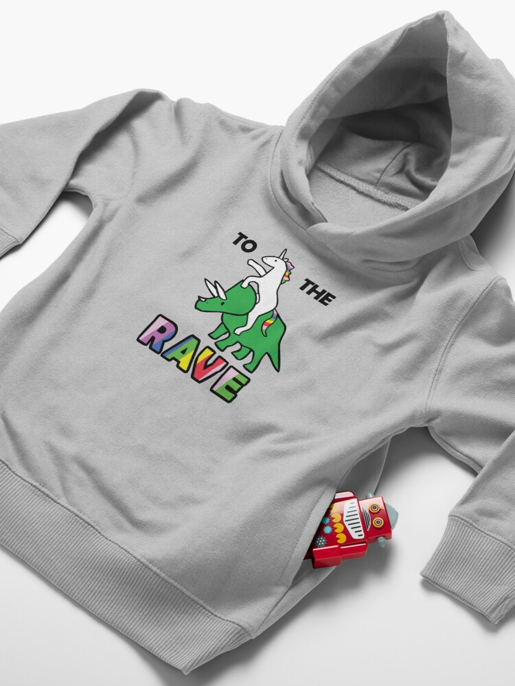 Alternate view of To The Rave! (Unicorn Riding Triceratops) Toddler Pullover Hoodie