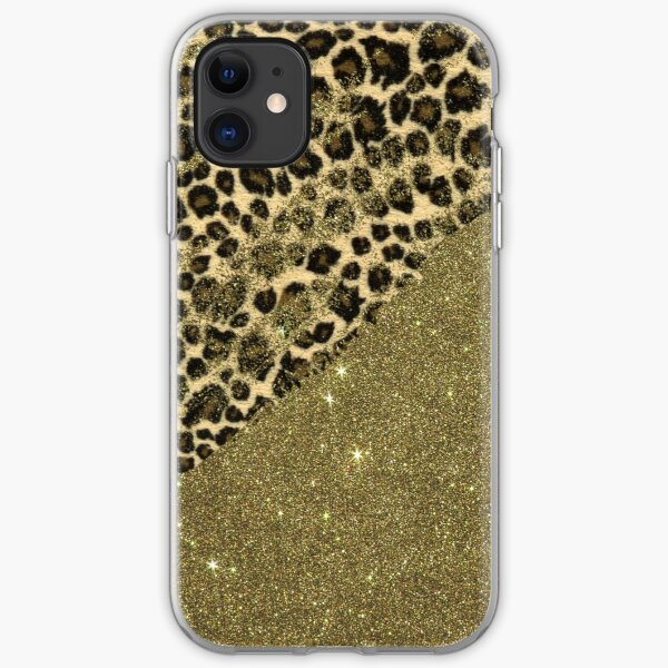 Classic Leopard Print Brushstrokes on Faux Gold Glitter iPhone Soft Case
