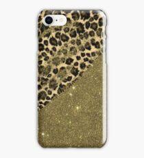 Classic Leopard Print Brushstrokes on Faux Gold Glitter iPhone Case/Skin