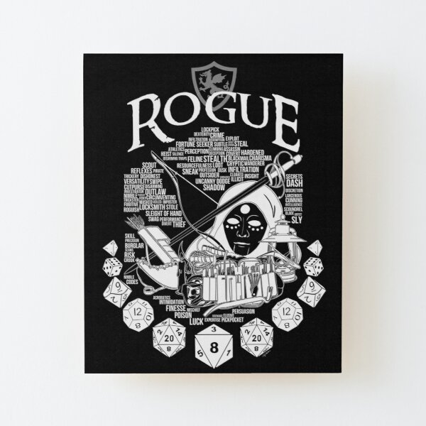 RPG Class Series: Rogue - White Version Wood Mounted Print