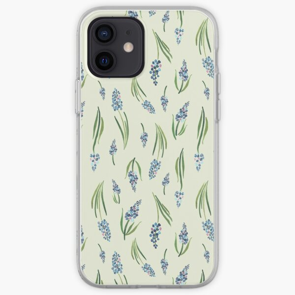 Sophisticated blue muscari ditsy floral pattern iPhone Soft Case