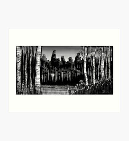 Birch and Beaver Art Print
