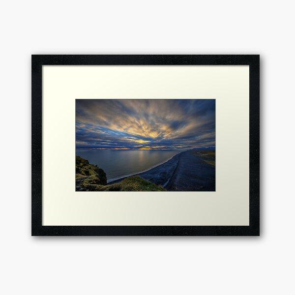 Sunset over Dyrholaey Framed Art Print