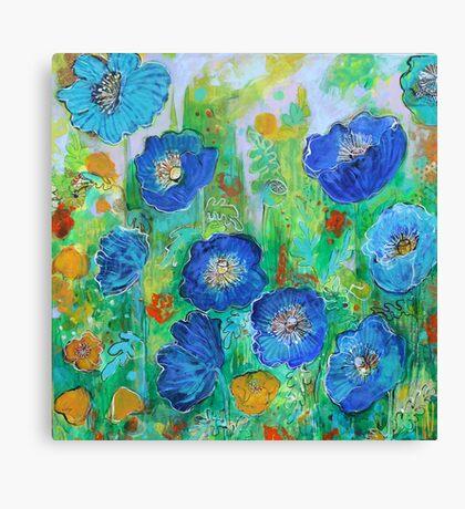 Blue Poppy Garden Canvas Print