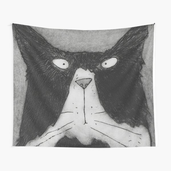Funny Grumpy Black And White Tom Cat Tapestry