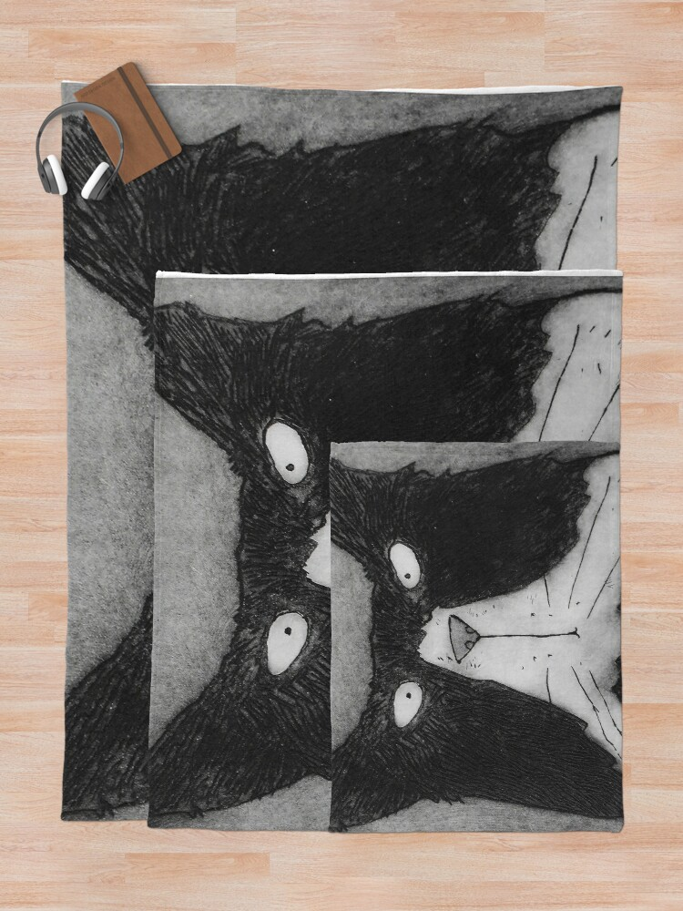 Alternate view of Funny Grumpy Black And White Tom Cat Throw Blanket