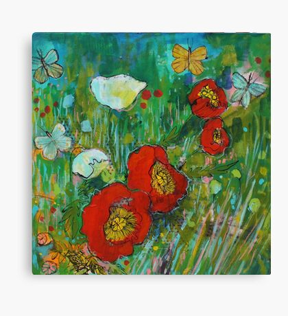 Poppy Walk Canvas Print