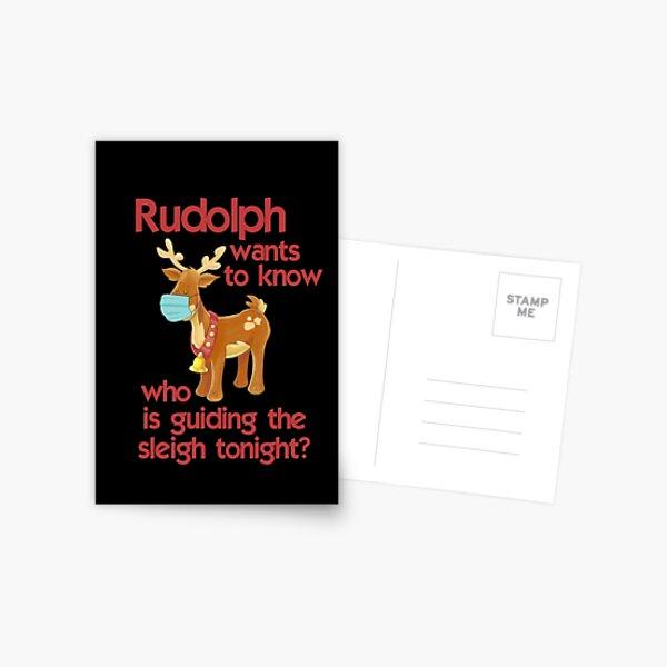 Rudolph Facemask 2020 christmas Postcard