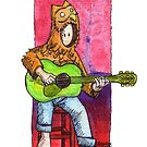KMAY Hoodkid owl playing a guitar by Katherine May