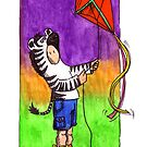 KMAY Hoodkid Zebra flying a Kite by Katherine May