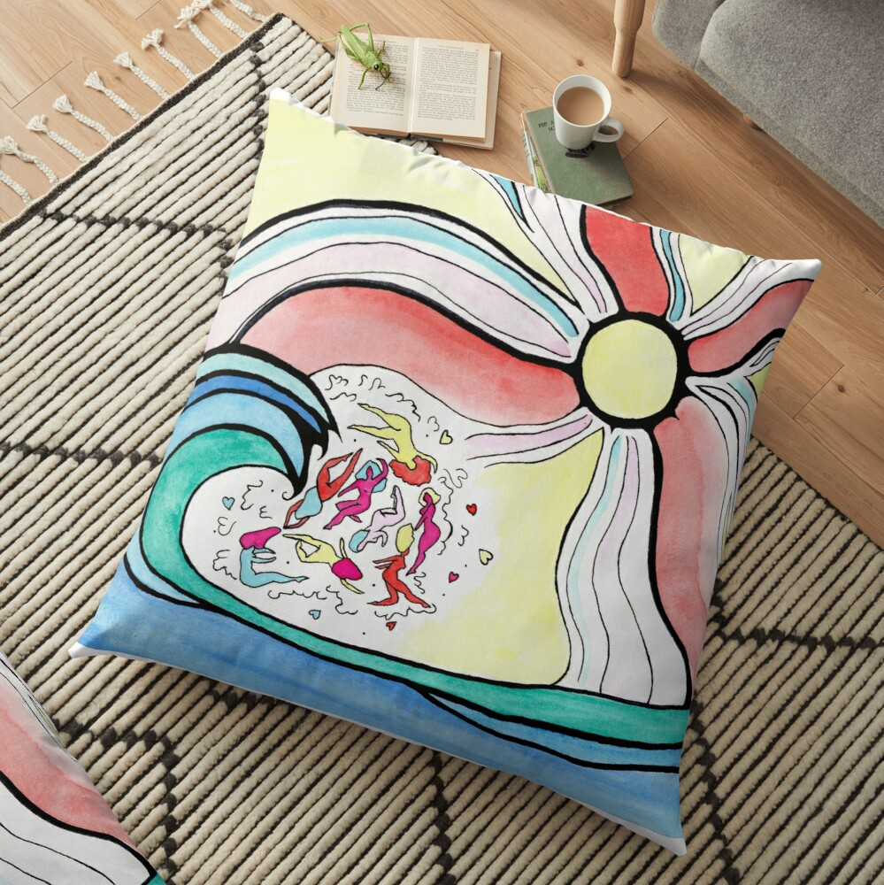 Colorful girlie wave Floor Pillow