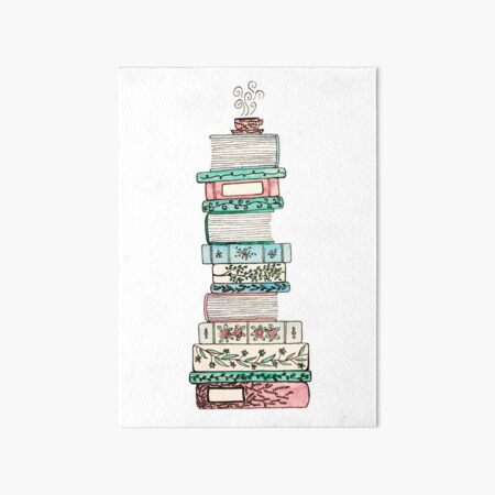 Pink and Blue Floral Bookstack Art Board Print