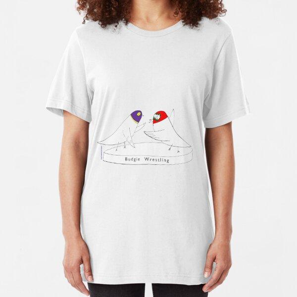 Budgie Wrestling Slim Fit T-Shirt