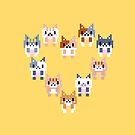 Heart with cats - pixel art by galegshop