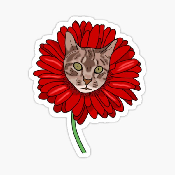 Red Daisy Cat Sticker