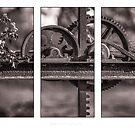 Triptych of old Irrigation gate by Alan Robert Cooke