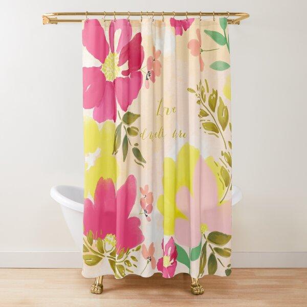 Love Dwells Here Watercolor Florals by Terri Conrad Designs Shower Curtain