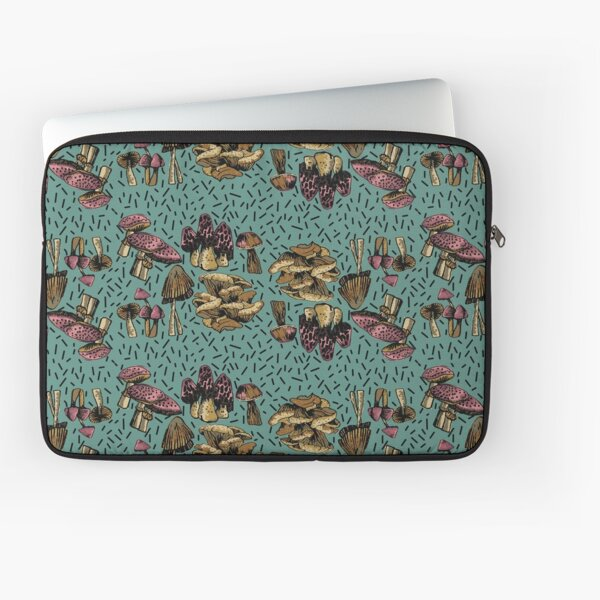 MUSHROOMS GALORE IN FUNKY PINK AND BROWNS ON A TURQUOISE BACKGROUND Laptop Sleeve
