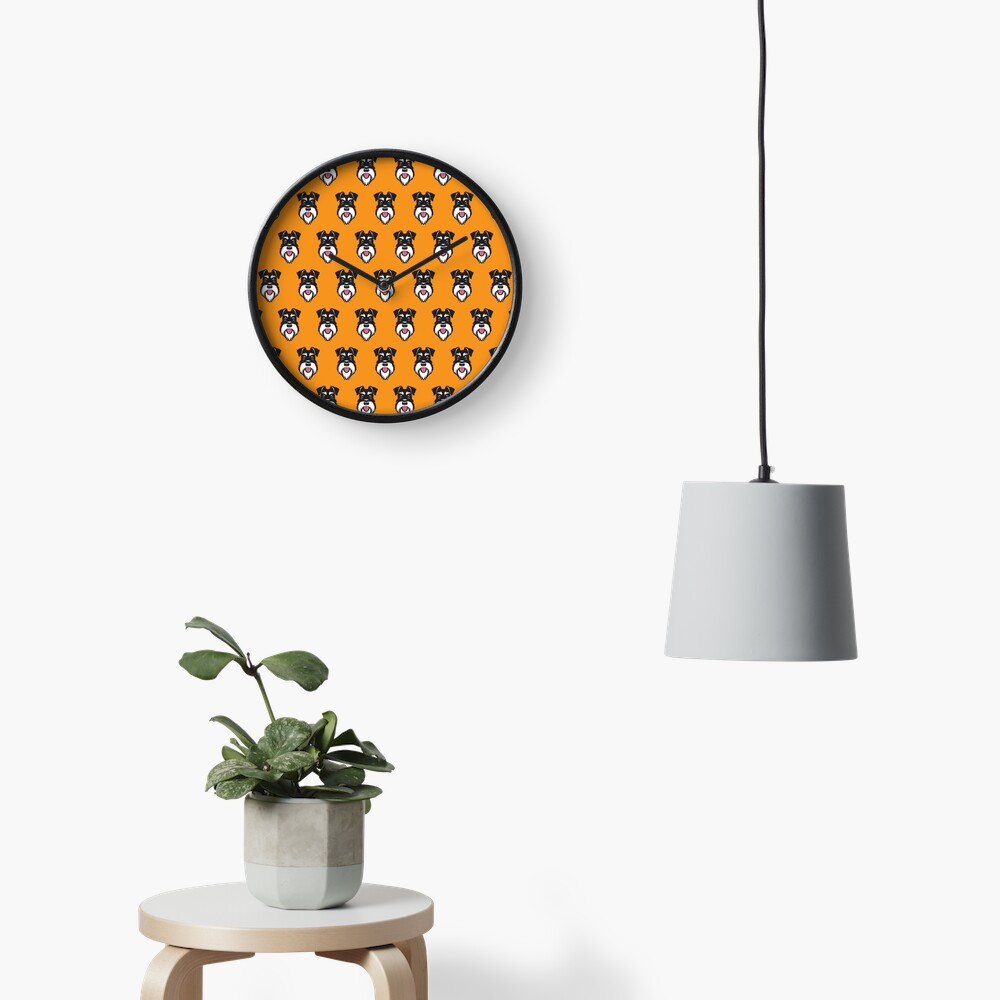 Silver & Black schnauzer pattern on orange background Clock