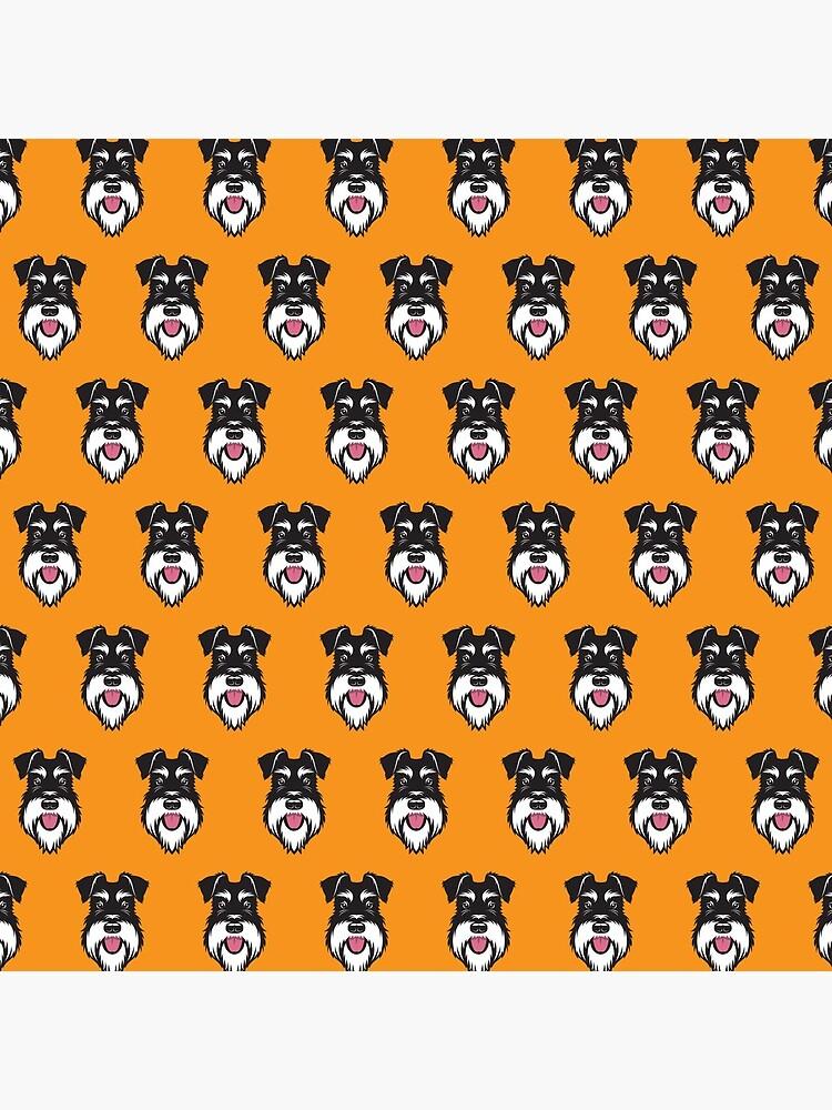Silver & Black schnauzer pattern on orange background by stevewilsonwda