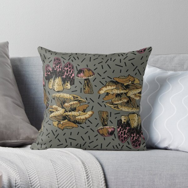MUSHROOMS GALORE IN FUNKY PINK AND BROWNS ON A GREY BACKGROUND Throw Pillow