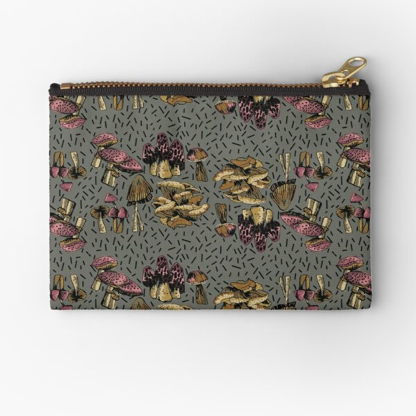 MUSHROOMS GALORE IN FUNKY PINK AND BROWNS ON A GREY BACKGROUND Zipper Pouch