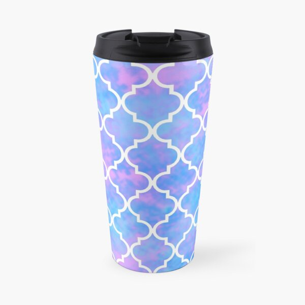 Pastel Pink Blue Quatrefoil Art Deco Pattern Travel Mug