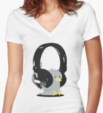 Music Bird Women's Fitted V-Neck T-Shirt