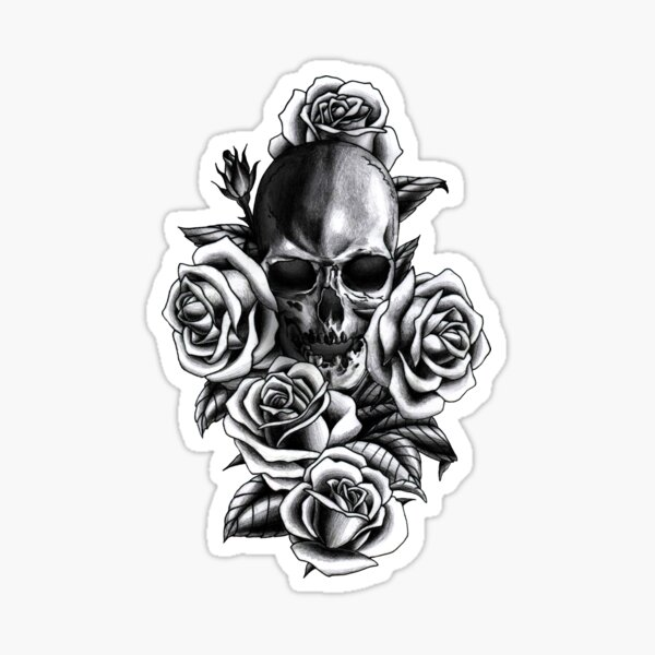 Skull and Roses Sticker