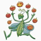 Green Grasshopper Juggling Christmas Balls by Zoo-co